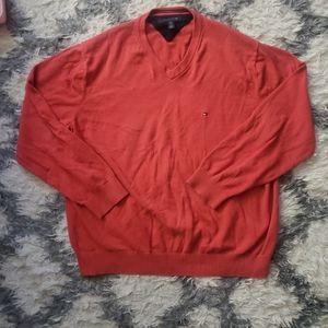 Tommy Hilfiger red v-neck sweater XXL
